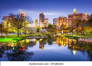 Charlotte, North Carolina, USA uptown skyline at Marshall Park.