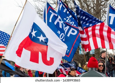 CHARLOTTE, NORTH CAROLINA/USA - February 7, 2020: Trump supporters wait for the President's visit to Charlotte, North Carolina on February 7, 2020