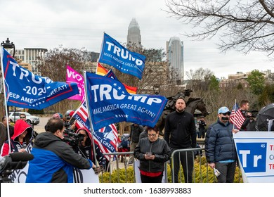 CHARLOTTE, NORTH CAROLINA/USA - February 7, 2020: Trump supporters wait alongside protesters for his visit to Charlotte, North Carolina on February 7, 2020