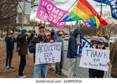 CHARLOTTE, NORTH CAROLINA/USA - February 7, 2020: Supporters of President Donald Trump celebrate his impeachment aquittal during his visit to Charlotte, North Carolina on February 7, 2020