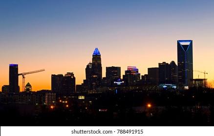 Charlotte, North Carolina/USA - January 7, 2018: Sunset over Uptown Charlotte