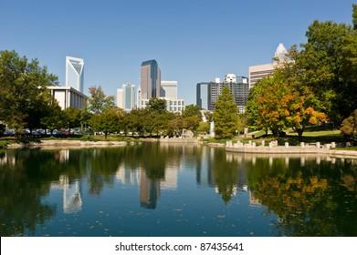 Charlotte, North Caroline city skyline in early fall