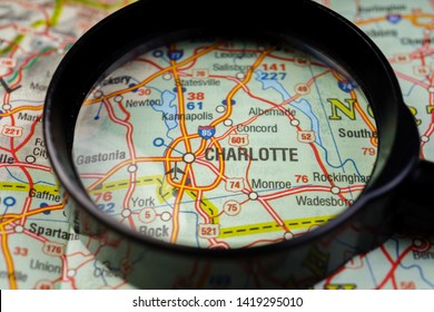Charlotte on USA map travel background