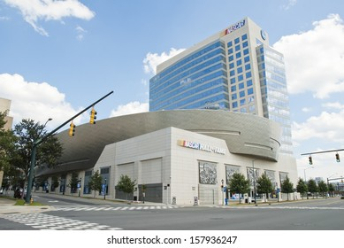CHARLOTTE - SEPTEMBER 13: The Bank of America Plaza rises above the intersection of East Trade Street and South Tryon Street  in Charlotte, September 13, 2013.