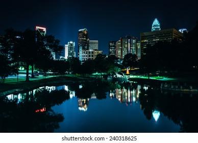 The Charlotte skyline seen at Marshall Park, in Charlotte, North Carolina.