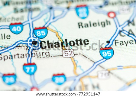 Charlotte Usa On Map Stock Photo Edit Now 772951147 Shutterstock
