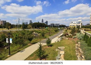 Charlotte, USA - September 24, 2013: Little Sugar Creek Greenway
