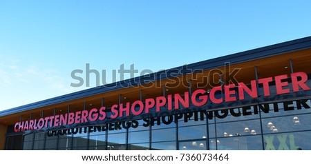 Charlottenbergs Shoppingcenter Sign Building Charlottenberg Sweden