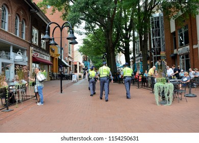 CHARLOTTESVILLE, VA–Aug 11, 2018: Va State Police protect the Downtown area of Charlottesville on the first anniversary of a rally that turned violent & resulted in the death of three & injury others.