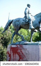 CHARLOTTESVILLE, VA–July 8, 2017: The Robert E. Lee statue in Emancipation Park is vandalized the night before members of a North Carolina KKK group arrive to rally.
