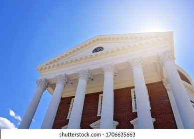 """CHARLOTTESVILLE, VA–April 9, 2020- The Rotunda on Grounds at the University of Virginia remains empty due to a """"stay-at-home"""" order in response to the COVID-19 global pandemic."""