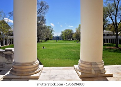 CHARLOTTESVILLE, VA–April 9, 2020- Social distancing seen at University of Virginia which would normally be crowded with students. A stay-at-home order is in place in response to the COVID-19 pandemic