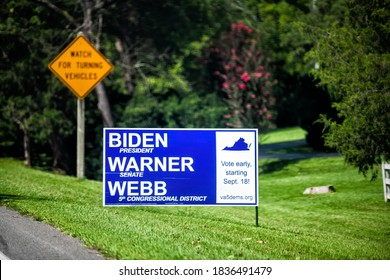 Charlottesville, USA - August 30, 2020: Presidential election political support sign for Joe Biden, Mark Warner for senate and Cameron Webb for representative in US congress with vote early