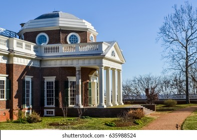 Charlottesville, USA - January 20, 2013: Monticello, Thomas Jefferson's home with columns in spring