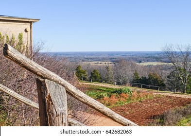 Charlottesville, USA - January 20, 2013: Vegetable garden on mountain in Monticello, Thomas Jefferson's home