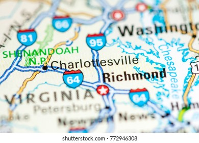 Charlottesville. USA on a map.
