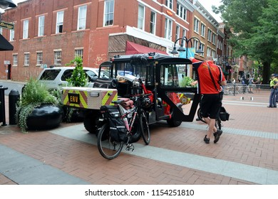 CHARLOTTESVILLE, VA – Aug 11, 2018: A heavy police presence is visible in Charlottesville on the one-year anniversary of a rally that turned violent.