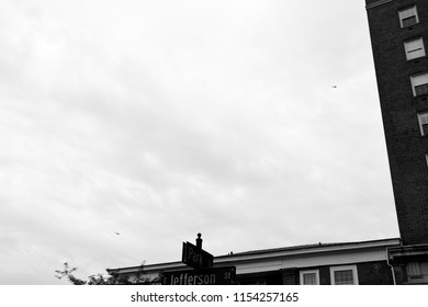 CHARLOTTESVILLE, VA – Aug 11, 2018: Police helicopters hover over the downtown area of Charlottesville on the one anniversary of a rally that turned violent.