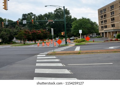 CHARLOTTESVILLE, VA – Aug 11, 2018: Roads are closed around the Downtown Mall area of Charlottesville where a year previous a rally turned violent.