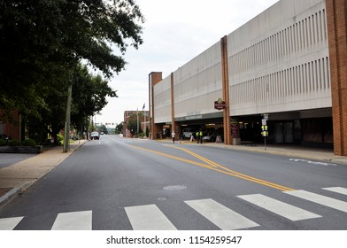 CHARLOTTESVILLE, VA – Aug 11, 2018: Parks and roads are closed in Charlottesville on the one anniversary of a rally that turned violent.