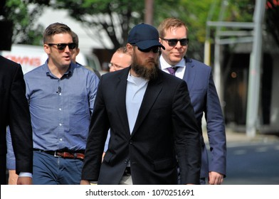 CHARLOTTESVILLE, VA - August 12, 2017: Richard Spencer, Nathan Damigo, Tim Gionet & entourage arrives during a white nationalist rally that turned violent resulting in one death and multiple injuries.