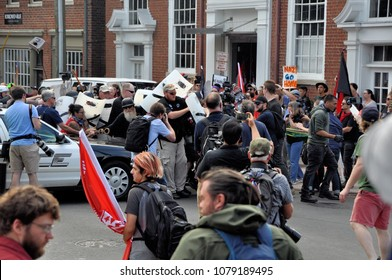 CHARLOTTESVILLE, VA - August 12, 2017: White nationalists and counter protesters clash in during a rally that turned violent resulting in the death of one and multiple injuries.