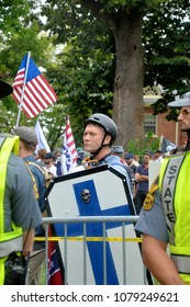 CHARLOTTESVILLE, VA - August 12, 2017: Members of a white supremacist group at a white nationalist rally that turned violent resulting in one death and multiple injuries.