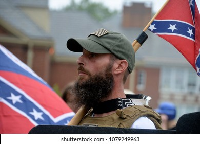 CHARLOTTESVILLE, VA - August 12, 2017: A member of a white supremacist group at a white nationalist rally that turned violent resulting in one death and multiple injuries.