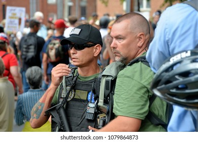 CHARLOTTESVILLE, VA - August 12, 2017: Militia, white supremacists and counter-protesters during a white nationalist rally that turned violent resulting in one death and multiple injuries.