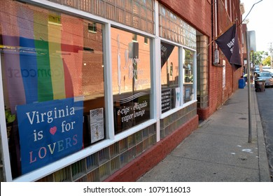 CHARLOTTESVILLE, VA - August 2017: Signs in support of Heather Heyer are placed are placed in local Charlottesville businesses. Heyer was killed when a car plowed into a crowd of protesters.