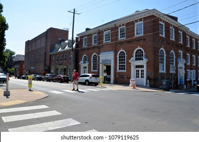 CHARLOTTESVILLE, VA - August 2017: Street corner in Charlottesville VA where earlier violence broke out between white rights rally members and counter protesters during a white nationalist rally.