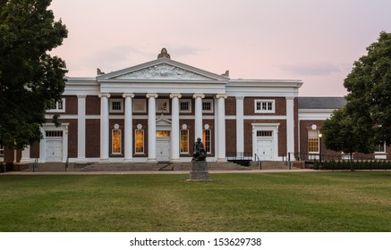 CHARLOTTESVILLE, VA - AUGUST 28: Dawn sky over Old Cabell Hall on campus of University of Virginia UVA on August 28, 2013. Designed by Thomas Jefferson as an Academical Village