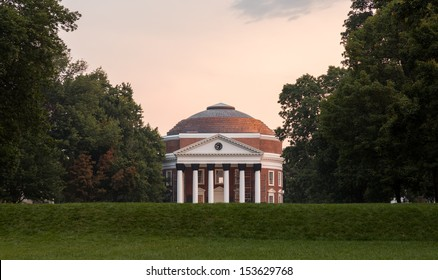 CHARLOTTESVILLE, VA - AUGUST 28: Dawn sky over Rotunda on campus of University of Virginia UVA on August 28, 2013. Designed by Thomas Jefferson as an Academical Village