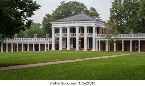 CHARLOTTESVILLE, VA - AUGUST 28: Palladian style portico on the campus of University of Virginia  on 28 August 2013. Designed by Thomas Jefferson as an Academical Village