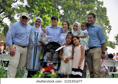 CHARLOTTESVILLE, VA – July 4, 2018 – A family celebrates with 67 other immigrants from 35 countries as they gain their citizenship at Thomas Jefferson's Monticello.