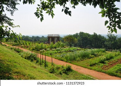 CHARLOTTESVILLE, VA – July 4, 2018 – The gardens at Thomas Jefferson's Monticello are world famous and sit with a spectacular view of the Blue Ridge Mountains.