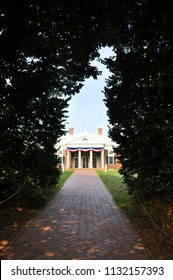 CHARLOTTESVILLE, VA – July 4, 2018 – Front view of Jefferson's Monticello in Charlottesville, Virginia.
