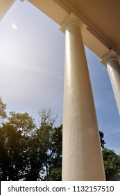 CHARLOTTESVILLE, VA – July 4, 2018 – The columns on the front porch of Jefferson's Monticello in Charlottesville, Virginia.