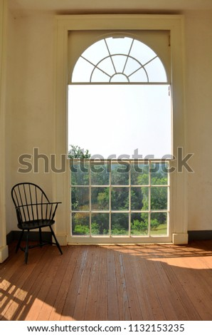 CHARLOTTESVILLE, VA – July 4, 2018 – View from inside the garden pavilion looking out at the gardens at Jefferson's Monticello in Charlottesville, Virginia.