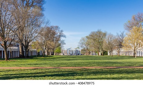 CHARLOTTESVILLE, VA, USA - APRIL 15: Old Cabell Hall and The Pavillions on The Lawn at the University of Virginia in Charlottesville, Virginia, on April 15, 2016 in CHARLOTTESVILLE, VA, USA.