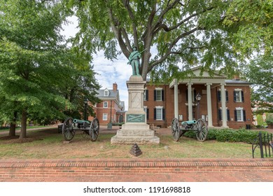 Charlottesville, VA, USA – September 16th, 2017: Confederate statue and cannons at the Albemarle County Circuit Court in Justice Park aka Court Square in Charlottesville, VA.