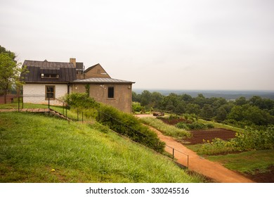 CHARLOTTESVILLE, VIRGINIA - AUGUST 7, 2015: View of  hillside garden at Monticello, home of former United States president, Thomas Jefferson.