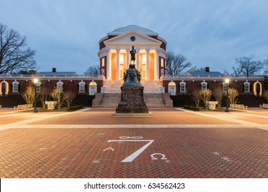 Charlottesville, Virginia - Feb 19, 2017: The University of Virginia in Charlottesville, Virginia at night. Thomas Jefferson founded the University of Virginia in 1819.