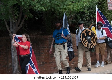 Charlottesville , Virginia , United States - August 12 , 2017 Unite the Right attracts neo-nazi groups and violent protesters