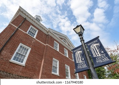 Charlottesville, Virginia/USA - August 18, 2018: The office of the Albemarle County Attorney in historic Court Square on a sunny morning.