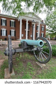 Charlottesville, Virginia/USA - August 18, 2018: A Civil War cannon in front of the Albemarle County Courthouse in historic Court Square on a summer morning.