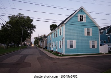 CHARLOTTETOWN, PRINCE EDWARD ISLAND, CANADA - AUGUST 23, 2016: picturesque traditional wooden house photographed at dusk.
