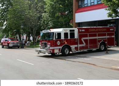 Charlottetown, Prince Edward Island, Canada - July 18 2018: Rescue 1 leaving the Fire Station