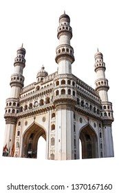 "The Charminar (""Four Minarets"") isolated on white background. It is a monument and mosque located in Hyderabad, Telangana, India."