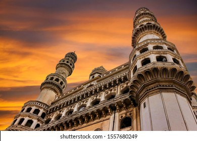Charminar in oldcity area of Hyderabad in telangana state of india during the sunset dusk hour